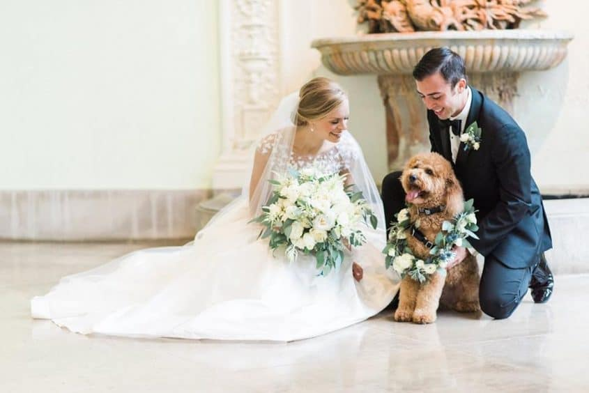 Oscar de la Renta wedding gown w/ pooch.